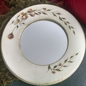 Wood Country Rose Round Mirror Hand Painted